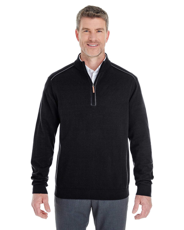 Devon & Jones Men's Manchester Fully-Fashioned Quarter-Zip Sweater BLACK/ GRAPHITE