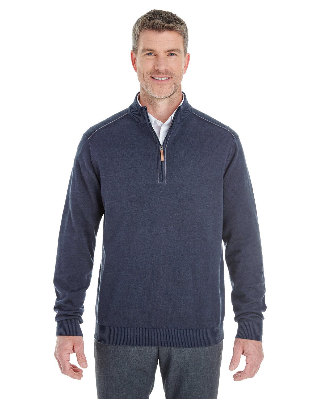 Devon & Jones Men's Manchester Fully-Fashioned Quarter-Zip Sweater NAVY/ GRAPHITE