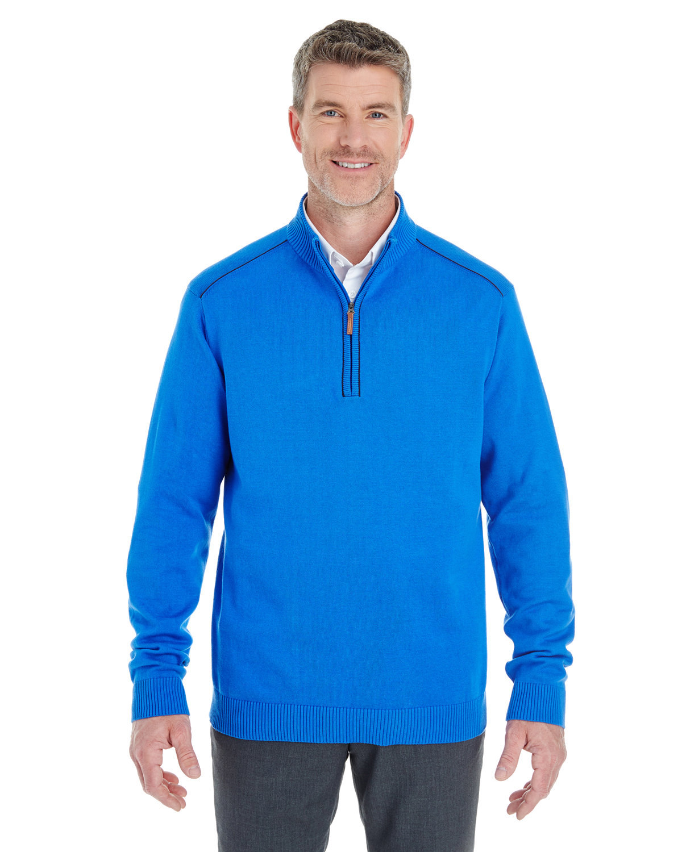 Devon & Jones Men's Manchester Fully-Fashioned Quarter-Zip Sweater FRENCH BLUE/ NVY