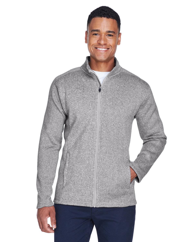 Devon & Jones Men's Bristol Full-Zip Sweater Fleece Jacket GREY HEATHER