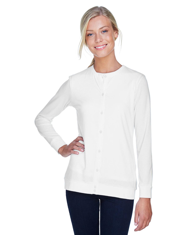 Devon & Jones Ladies' Perfect Fit™ Ribbon Cardigan WHITE