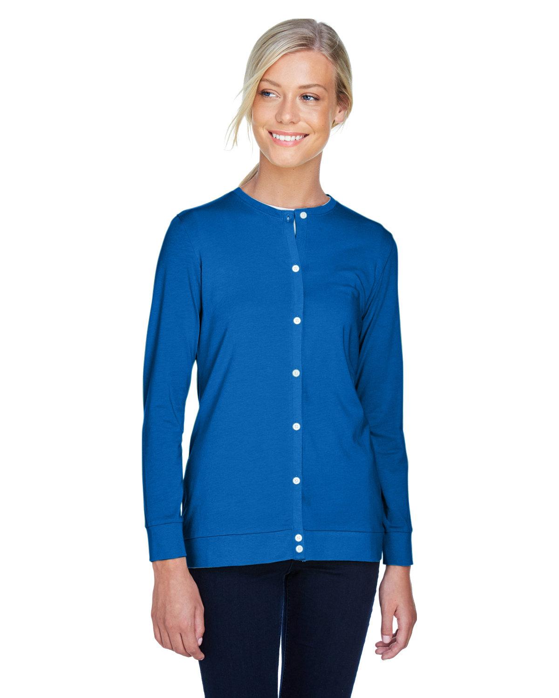 Devon & Jones Ladies' Perfect Fit™ Ribbon Cardigan FRENCH BLUE