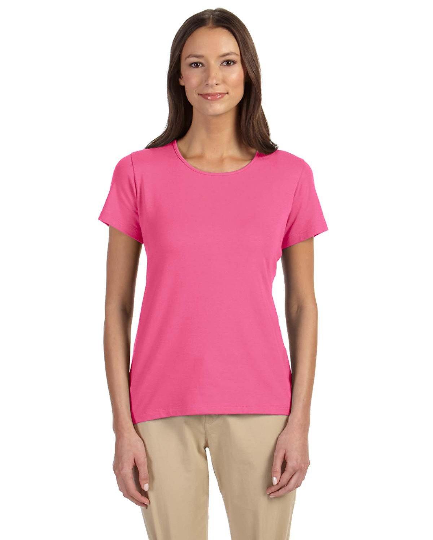 Devon & Jones Ladies' Perfect Fit™ Shell T-Shirt CHARITY PINK