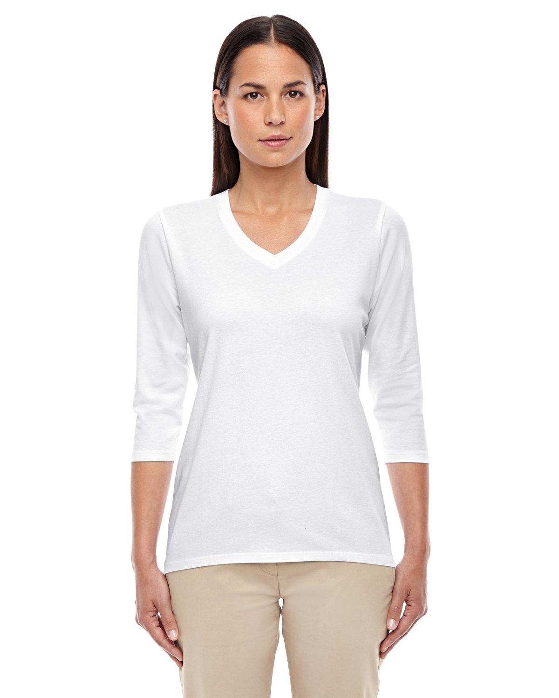 Devon & Jones Ladies' Perfect Fit™ Bracelet-Length V-Neck Top WHITE