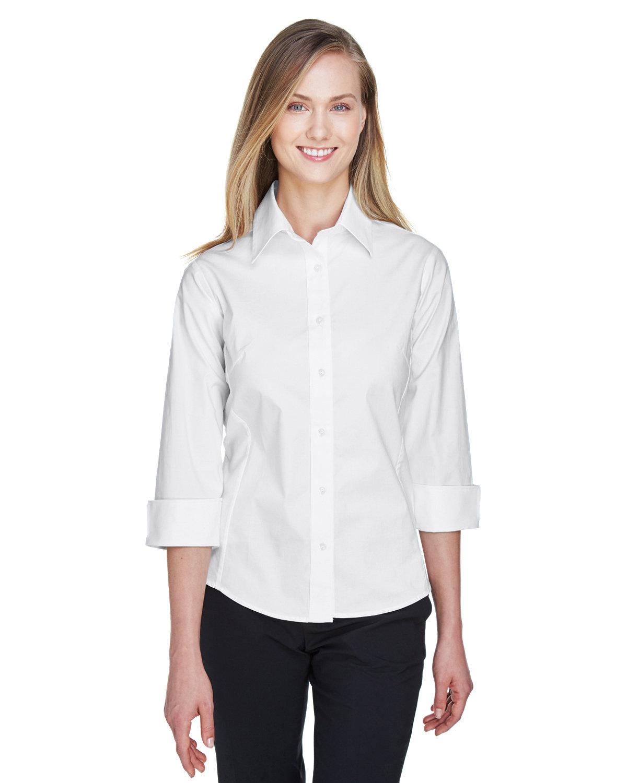 Devon & Jones Ladies' Perfect Fit™ 3/4-Sleeve Stretch Poplin Blouse WHITE