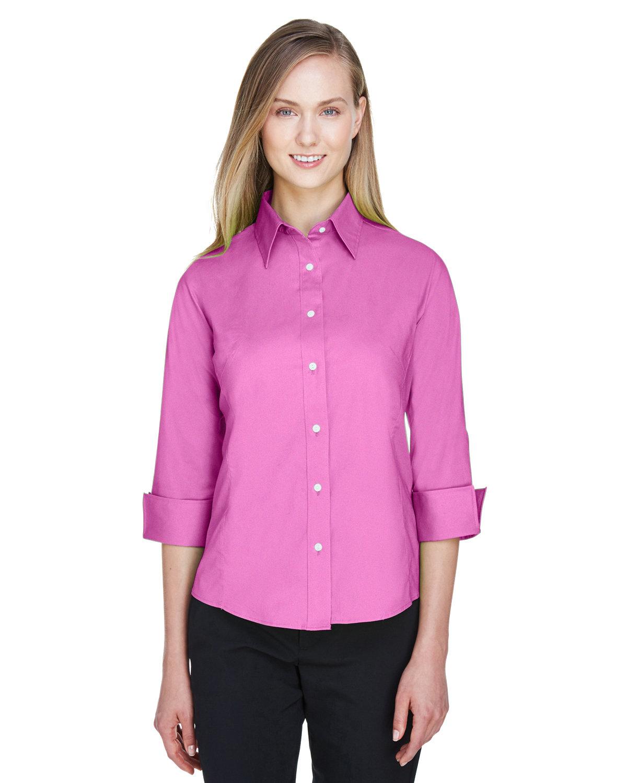 Devon & Jones Ladies' Perfect Fit™ 3/4-Sleeve Stretch Poplin Blouse CHARITY PINK