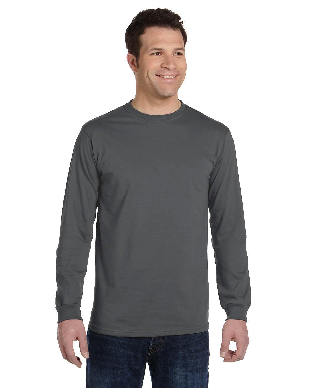 econscious Men's 100% Organic Cotton Classic Long-Sleeve T-Shirt CHARCOAL