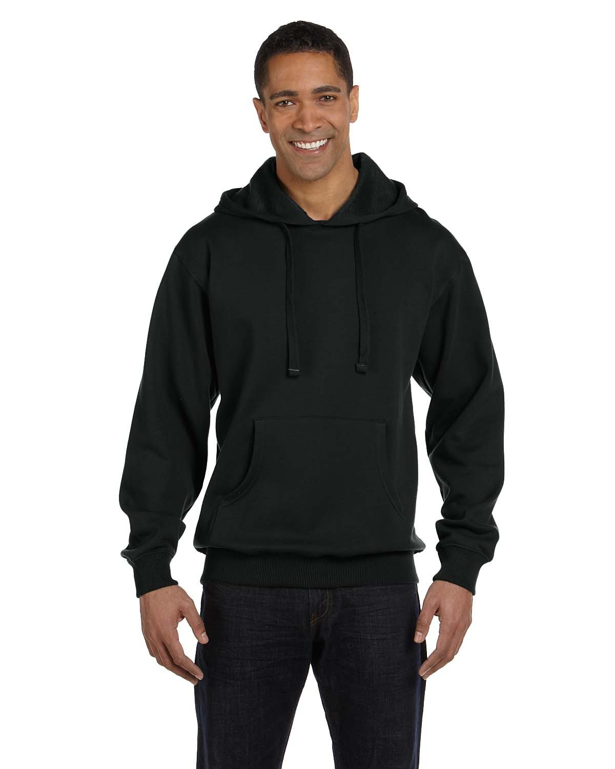 econscious Adult Organic/Recycled Pullover Hooded Sweatshirt BLACK