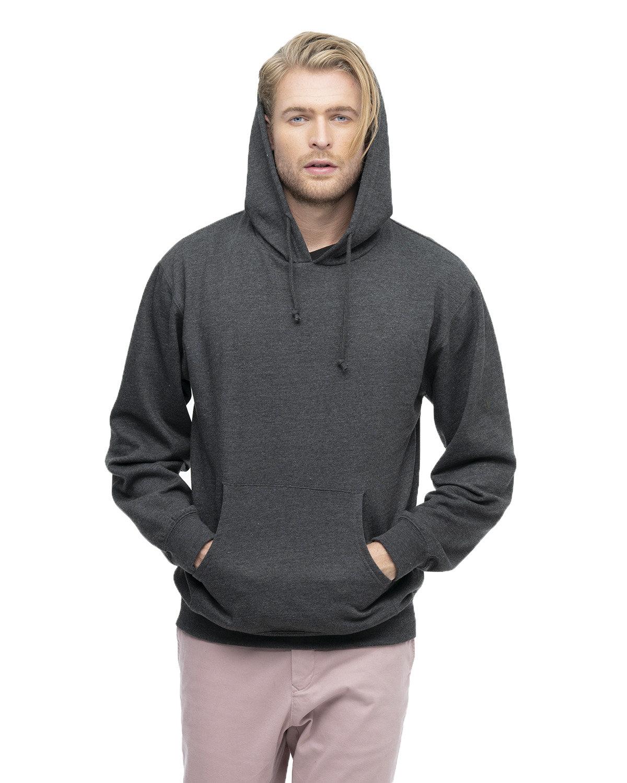 econscious Adult Organic/Recycled Heathered Fleece Pullover Hooded Sweatshirt CHARCOAL