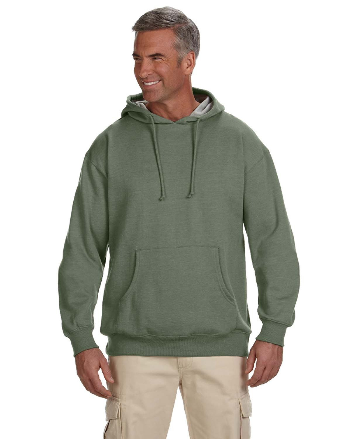 econscious Adult Organic/Recycled Heathered Fleece Pullover Hooded Sweatshirt MILITARY GREEN