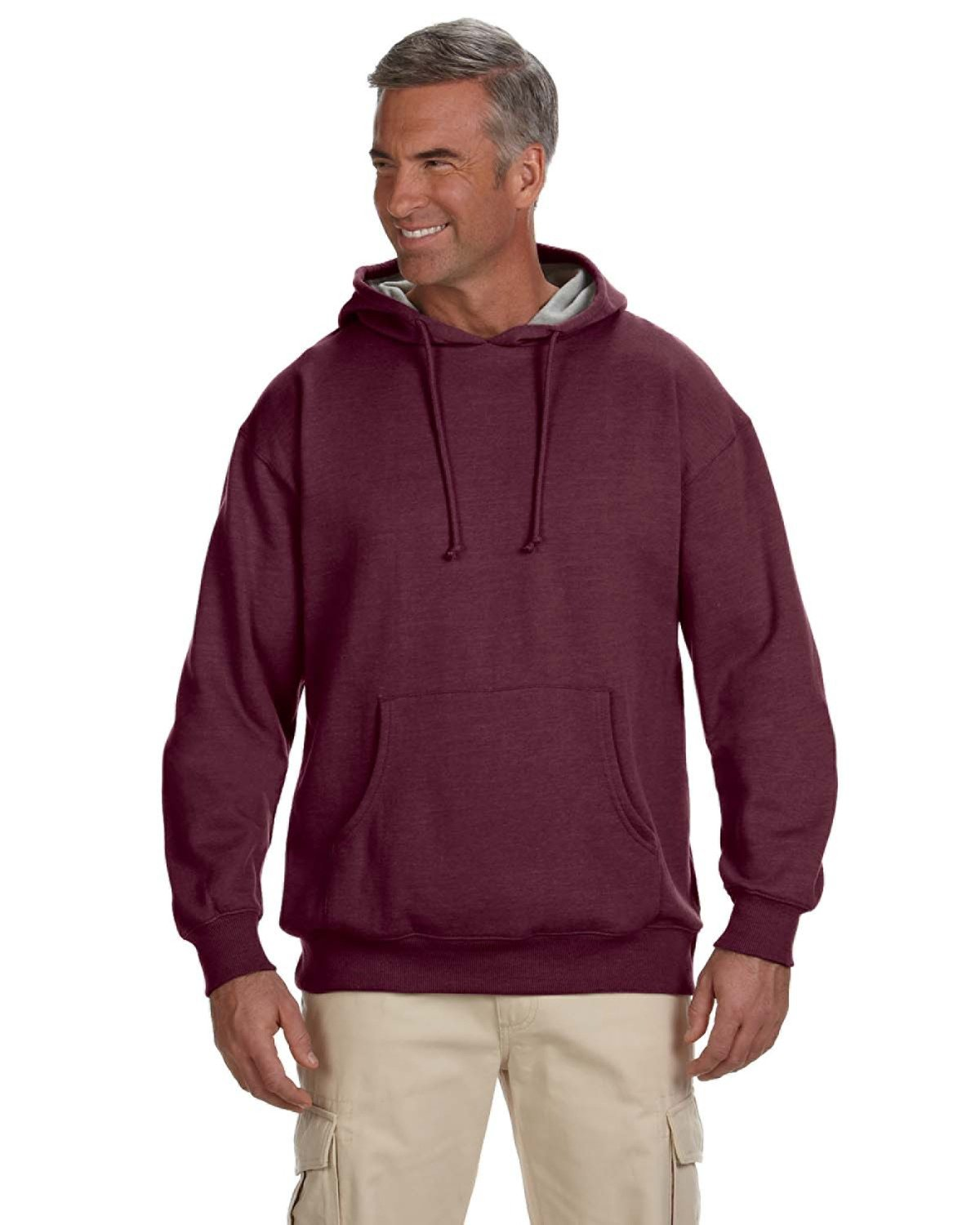 econscious Adult Organic/Recycled Heathered Fleece Pullover Hooded Sweatshirt BERRY