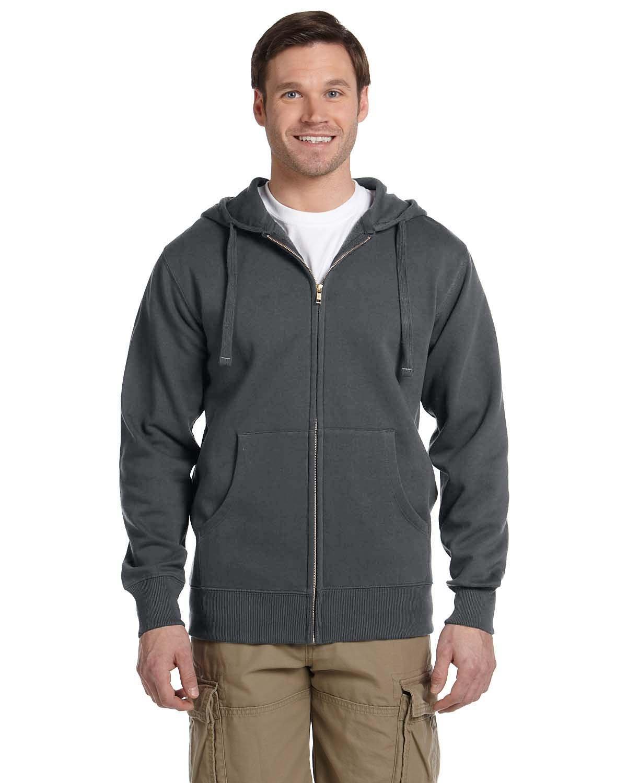 econscious Men's Organic/Recycled Full-Zip Hooded Sweatshirt CHARCOAL