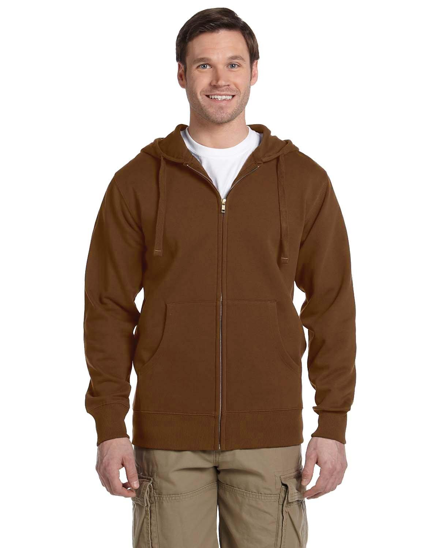 econscious Men's Organic/Recycled Full-Zip Hooded Sweatshirt LEGACY BROWN