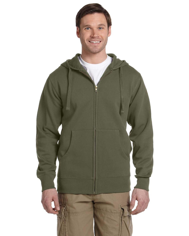 econscious Men's Organic/Recycled Full-Zip Hooded Sweatshirt JUNGLE