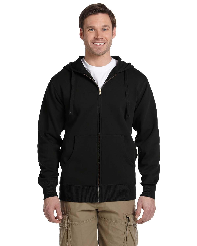 econscious Men's Organic/Recycled Full-Zip Hooded Sweatshirt BLACK