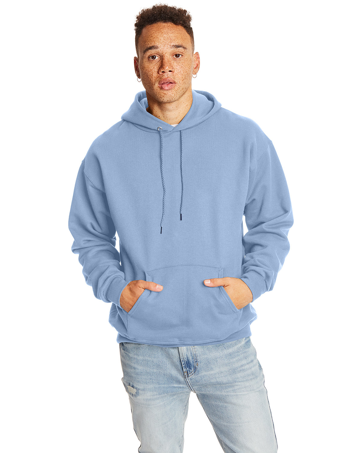 Hanes Adult Ultimate Cotton® 90/10 Pullover Hooded Sweatshirt LIGHT BLUE