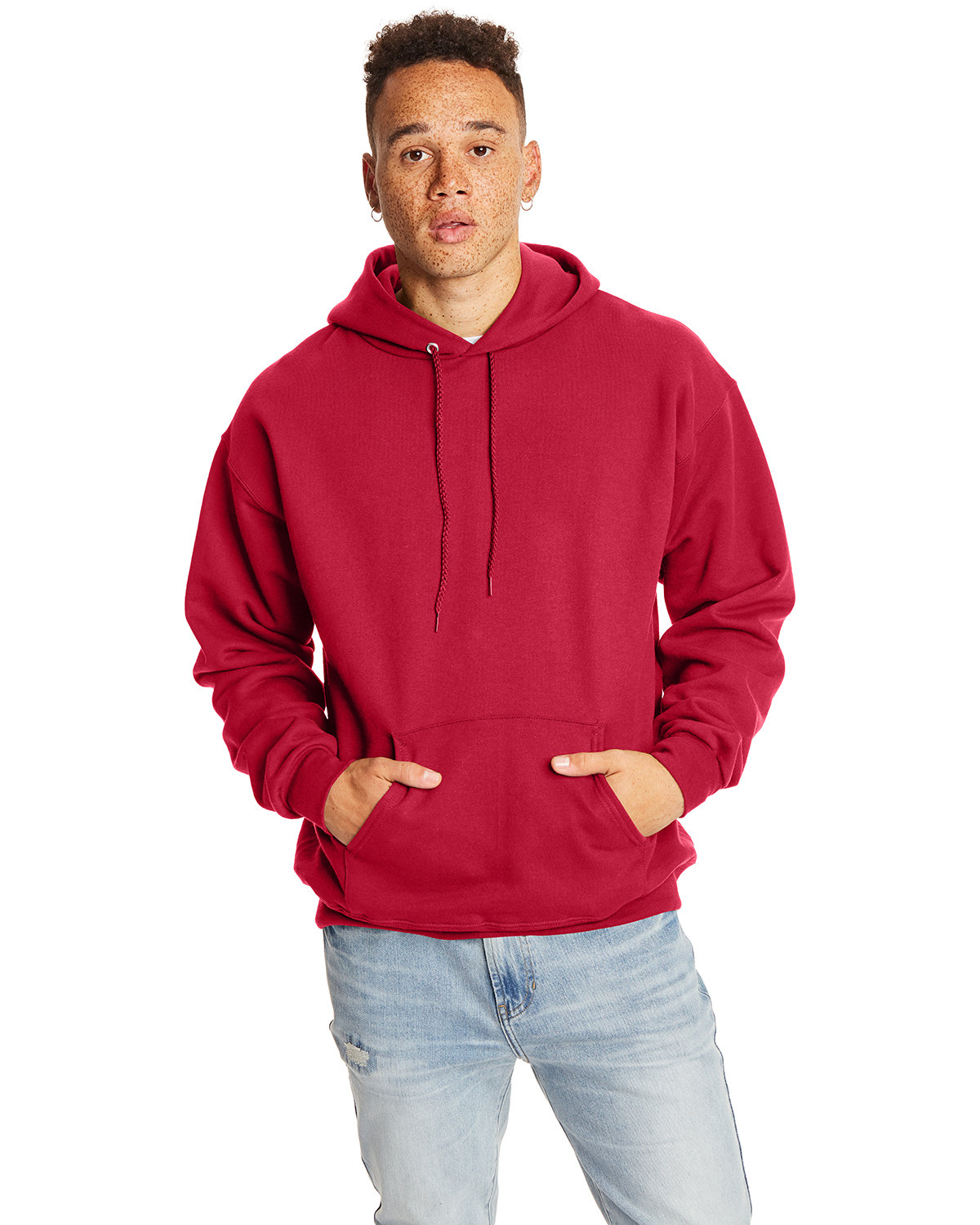 Hanes Adult Ultimate Cotton® 90/10 Pullover Hooded Sweatshirt DEEP RED