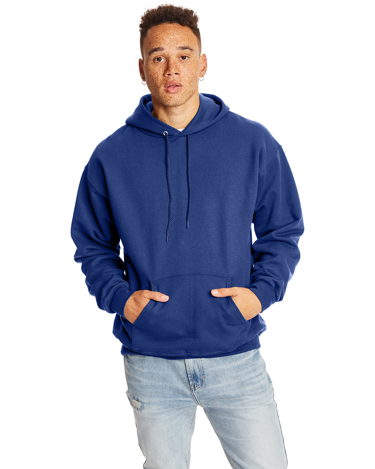 Hanes Adult Ultimate Cotton® 90/10 Pullover Hooded Sweatshirt DEEP ROYAL