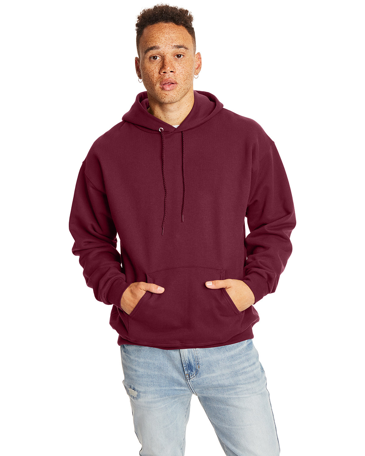 Hanes Adult Ultimate Cotton® 90/10 Pullover Hooded Sweatshirt MAROON