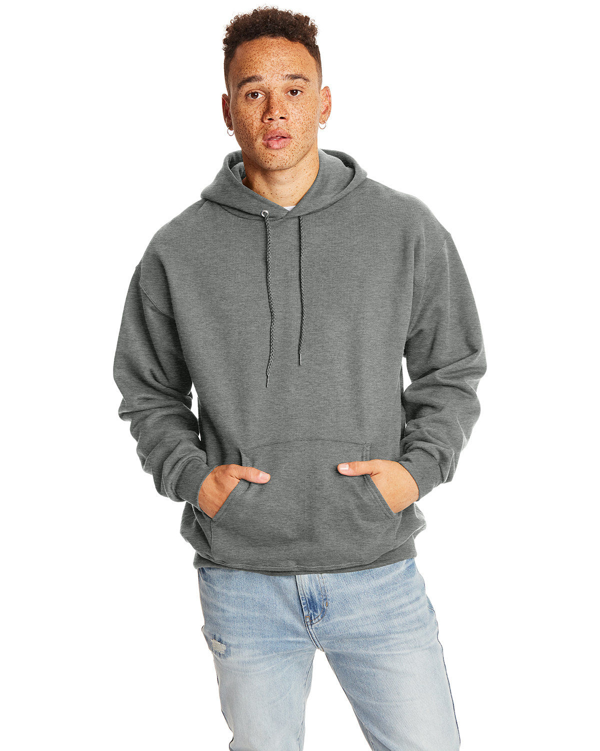 Hanes Adult Ultimate Cotton® 90/10 Pullover Hooded Sweatshirt CHARCOAL HEATHER