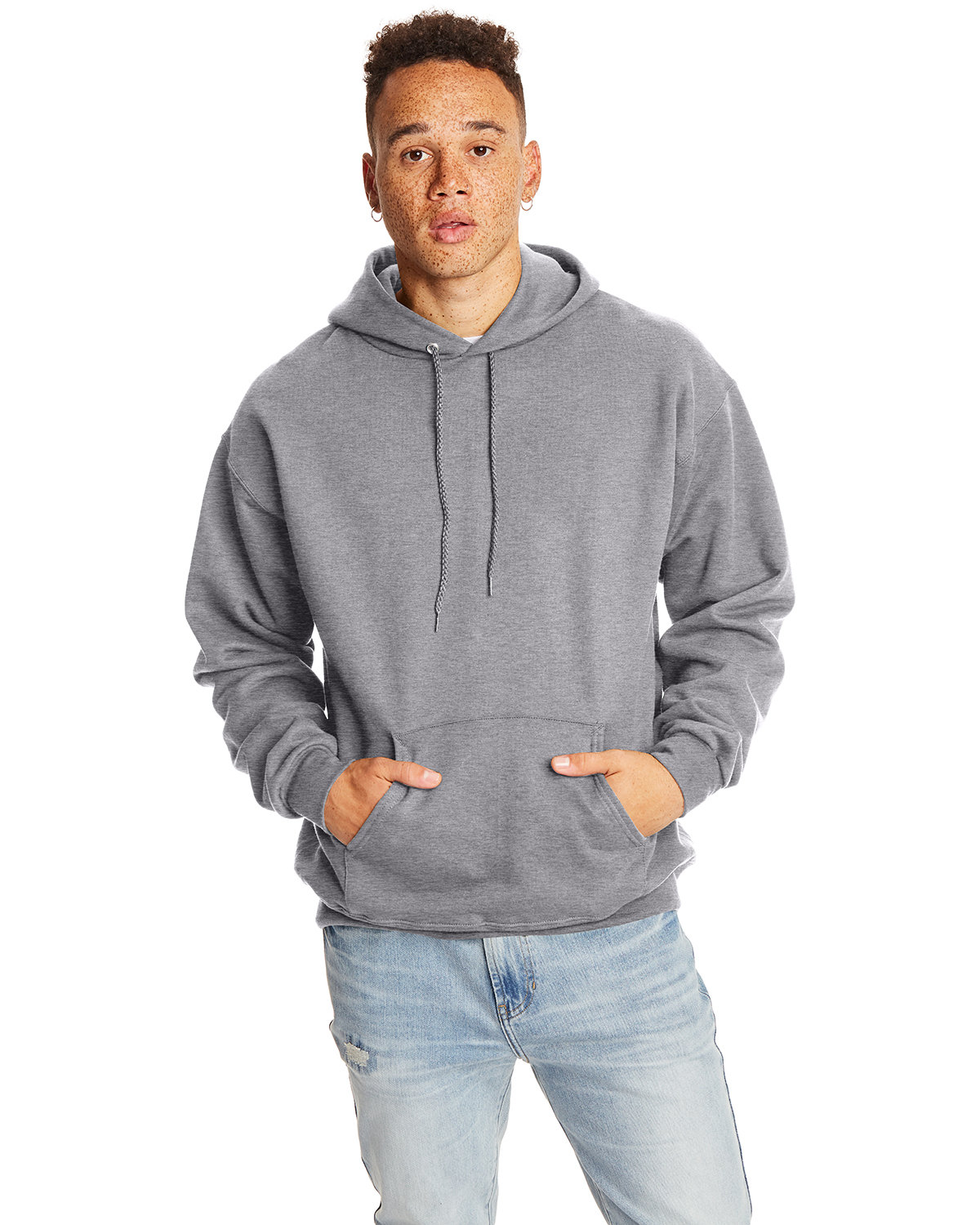 Hanes Adult Ultimate Cotton® 90/10 Pullover Hooded Sweatshirt OXFORD GRAY