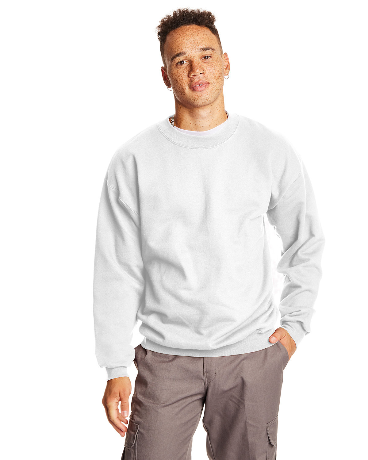 Hanes Adult Ultimate Cotton® 90/10 Fleece Crew WHITE