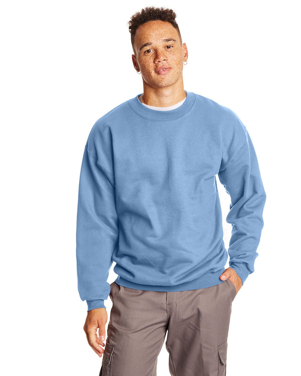 Hanes Adult Ultimate Cotton® 90/10 Fleece Crew LIGHT BLUE