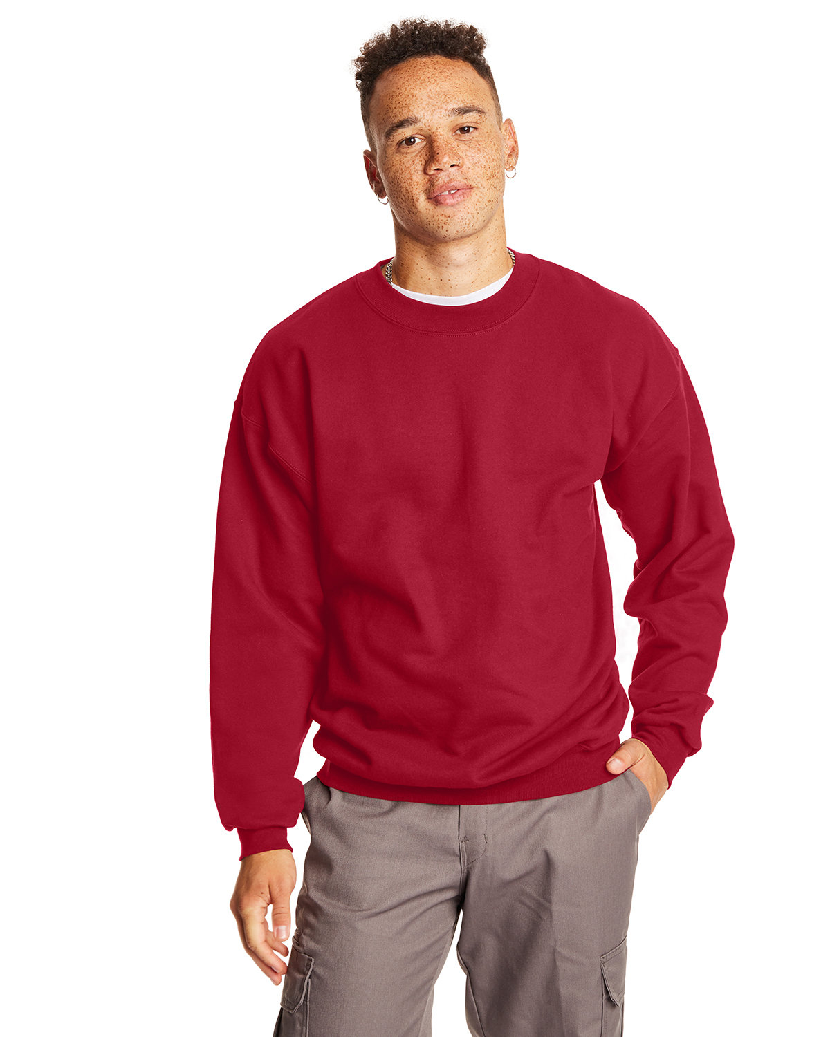 Hanes Adult Ultimate Cotton® 90/10 Fleece Crew DEEP RED