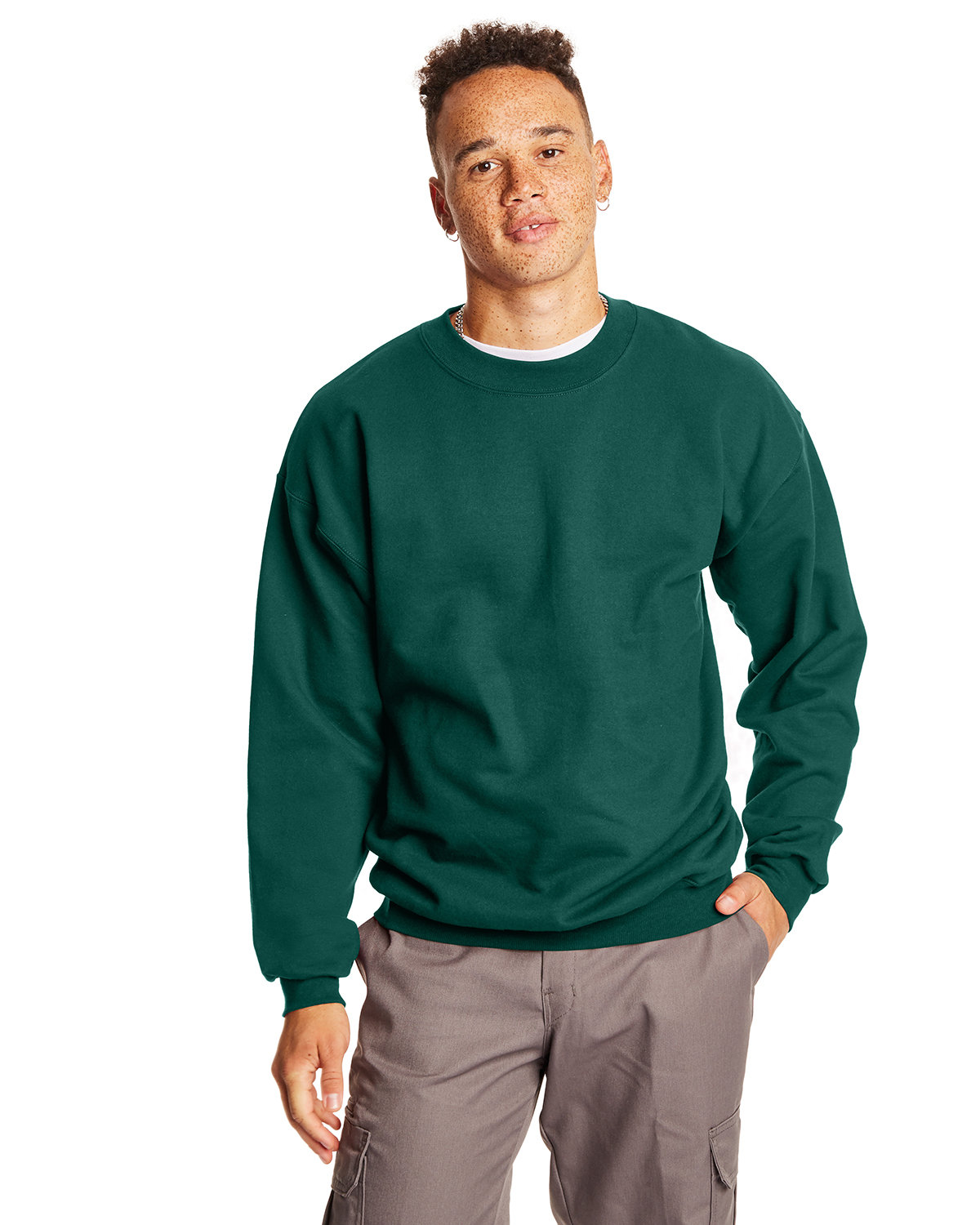 Hanes Adult Ultimate Cotton® 90/10 Fleece Crew DEEP FOREST