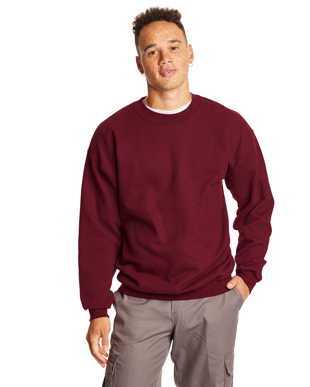 Hanes Adult Ultimate Cotton® 90/10 Fleece Crew MAROON