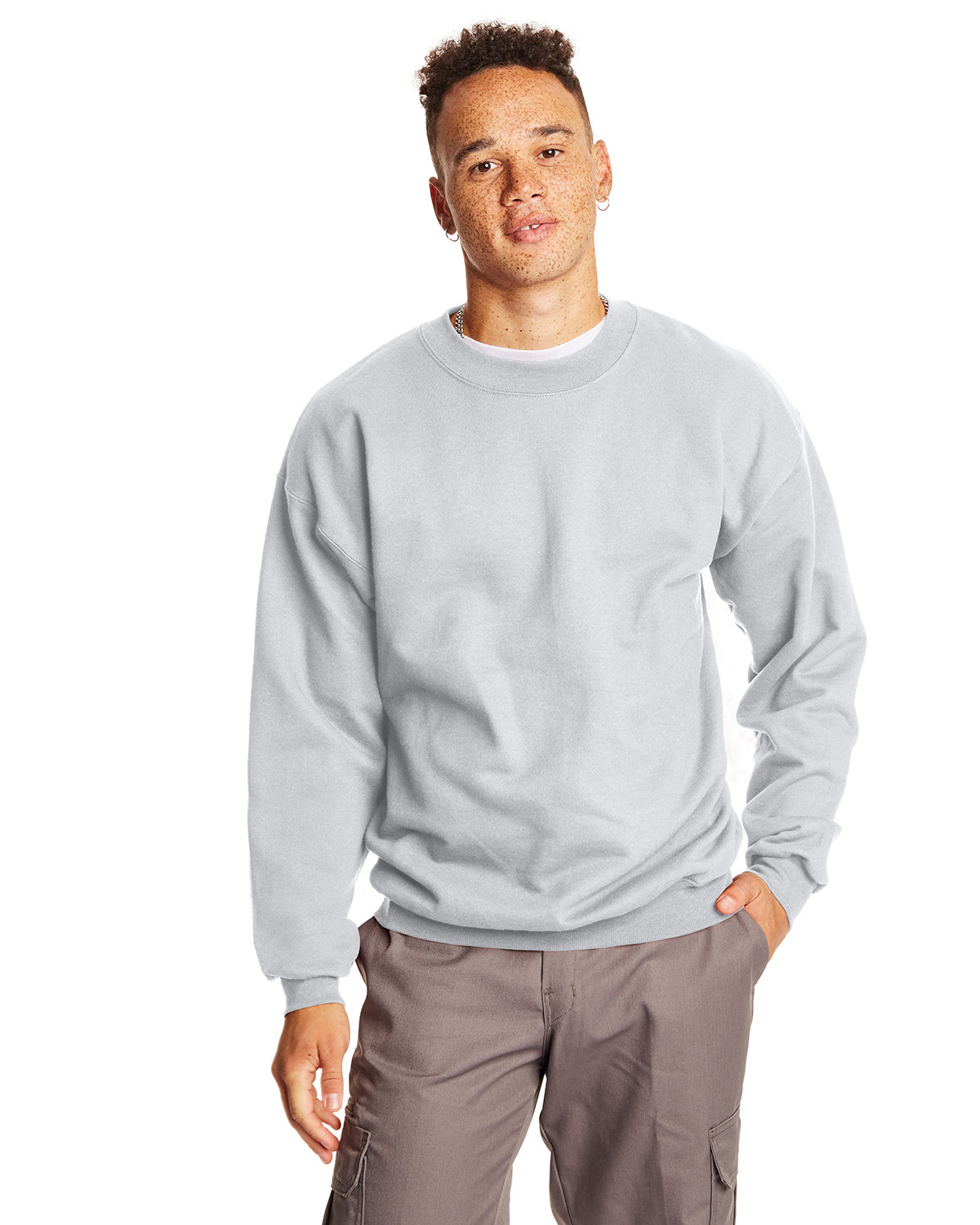 Hanes Adult Ultimate Cotton® 90/10 Fleece Crew LIGHT STEEL