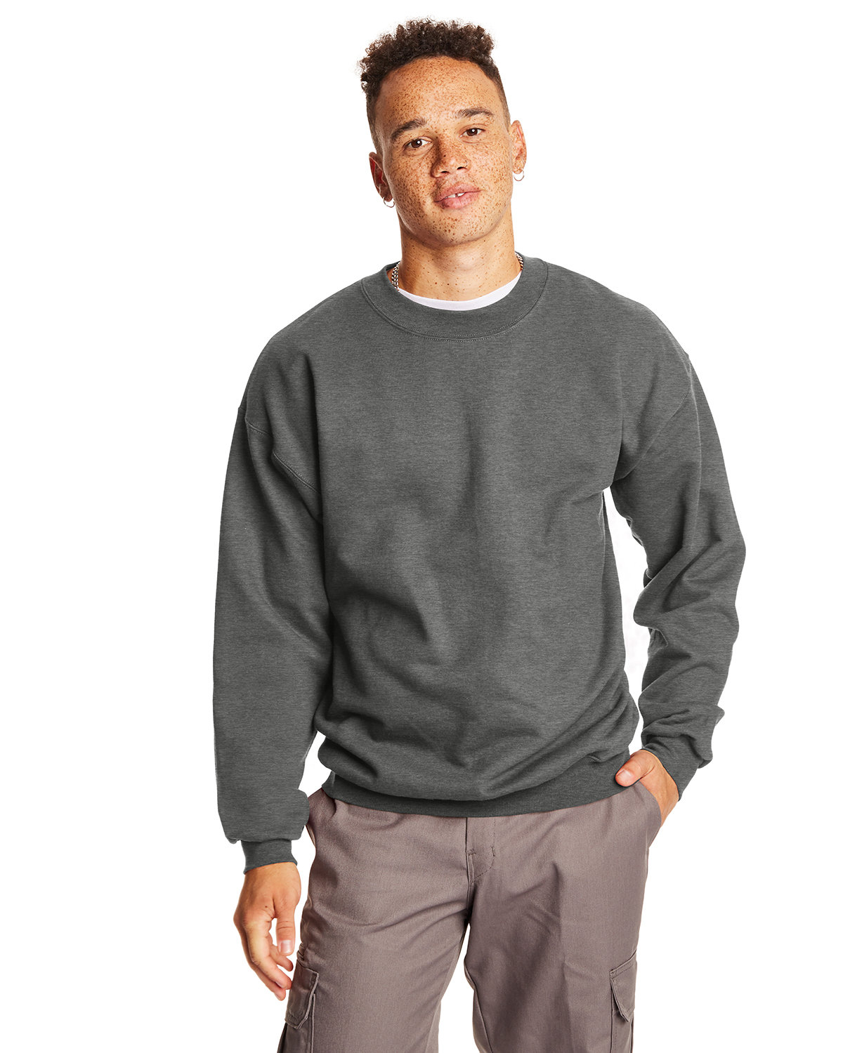 Hanes Adult Ultimate Cotton® 90/10 Fleece Crew CHARCOAL HEATHER