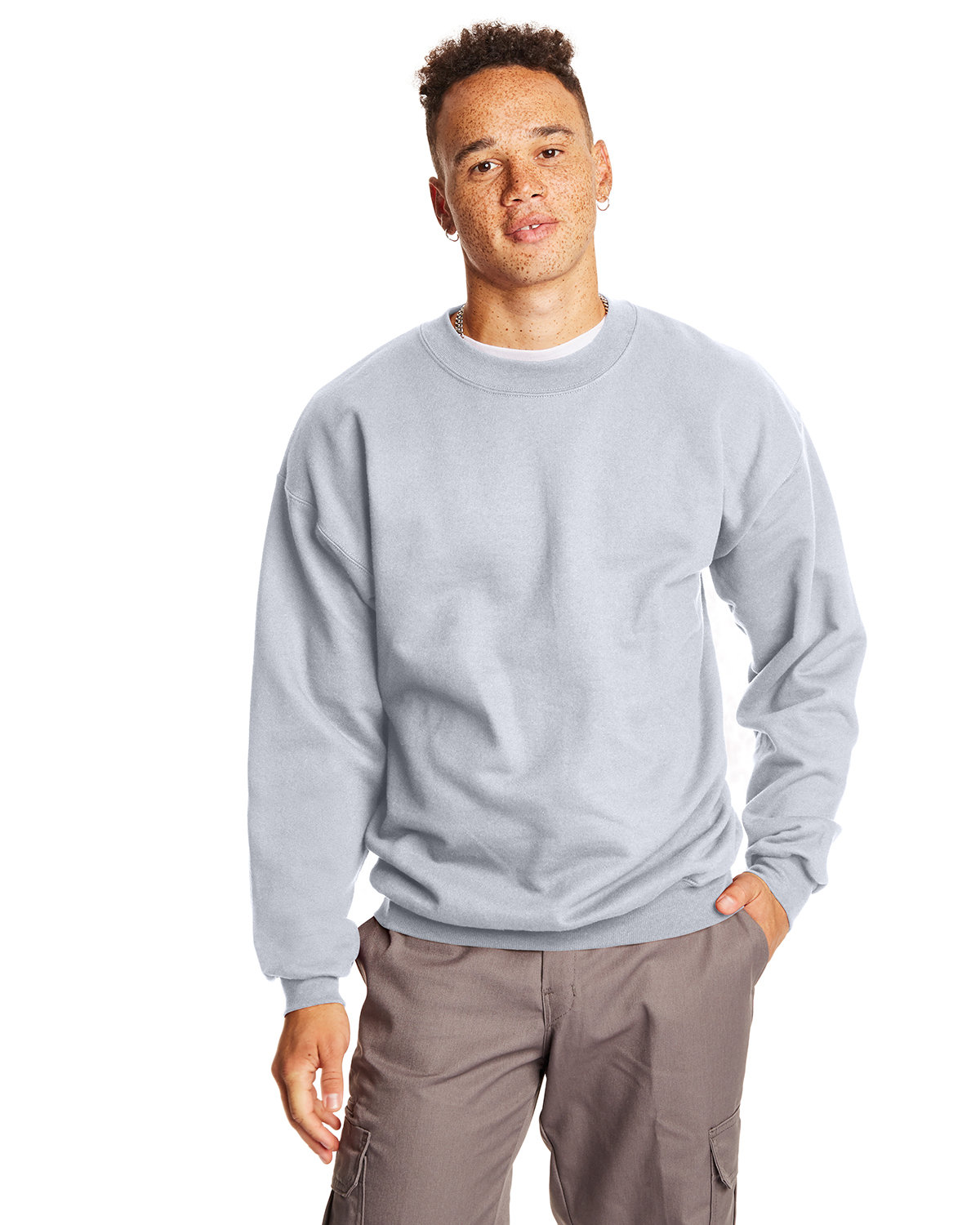 Hanes Adult Ultimate Cotton® 90/10 Fleece Crew ASH