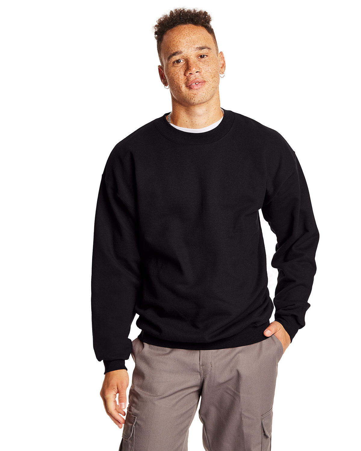 Hanes Adult Ultimate Cotton® 90/10 Fleece Crew BLACK