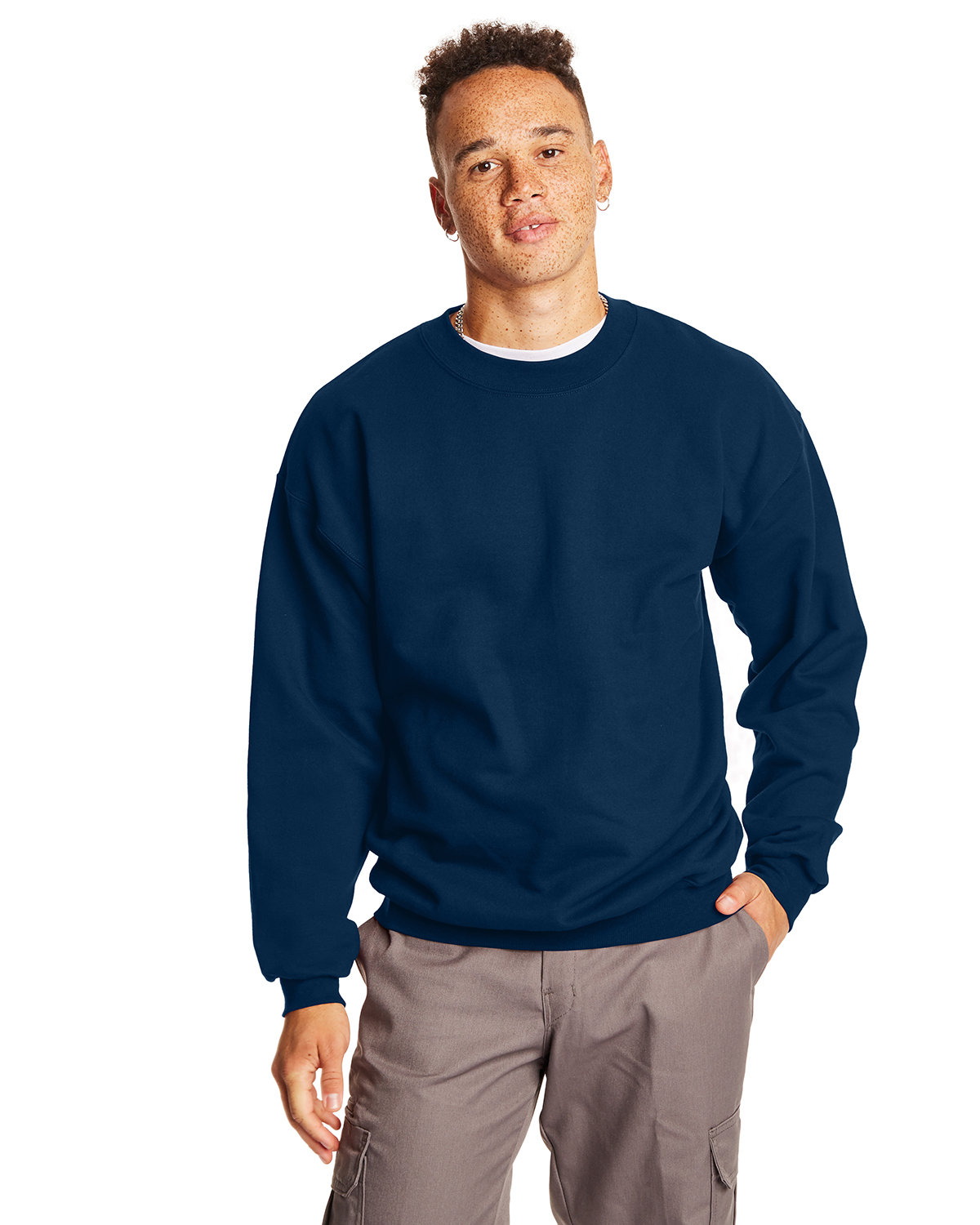 Hanes Adult Ultimate Cotton® 90/10 Fleece Crew NAVY