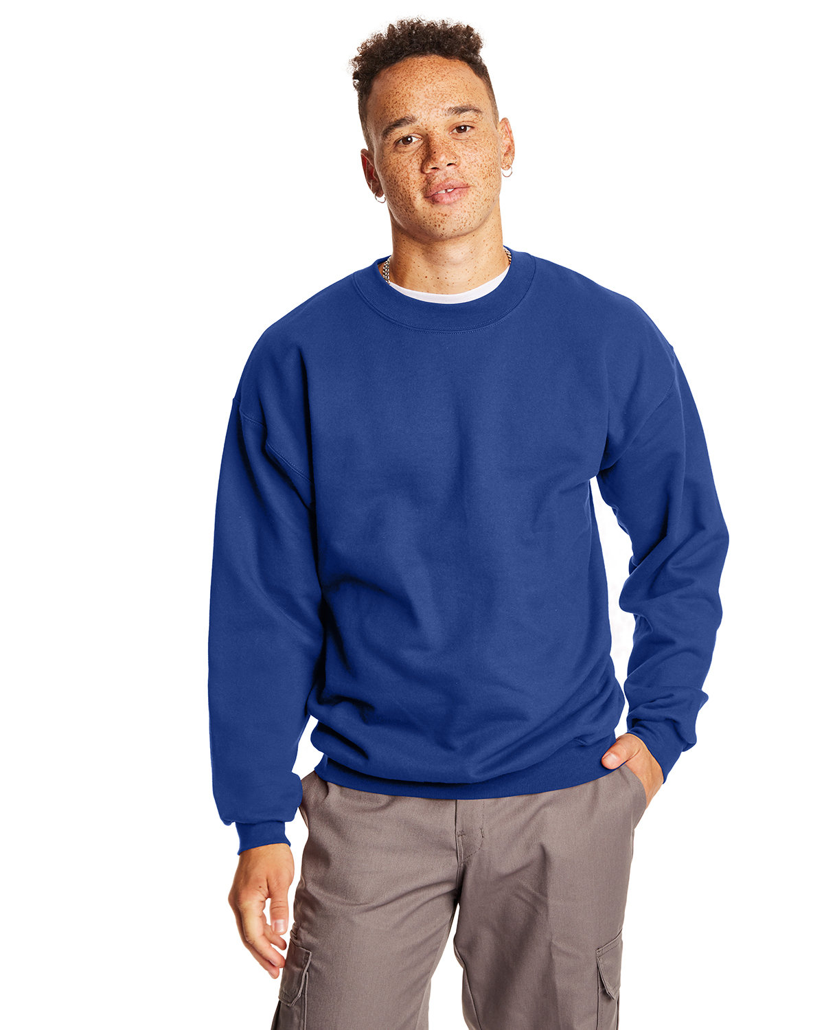 Hanes Adult Ultimate Cotton® 90/10 Fleece Crew DEEP ROYAL