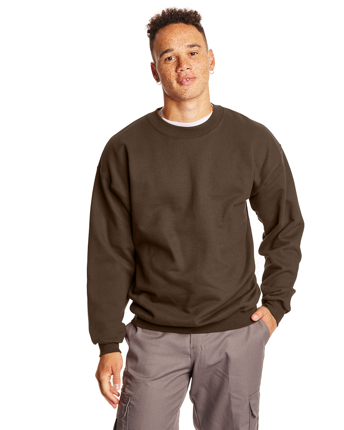 Hanes Adult Ultimate Cotton® 90/10 Fleece Crew DARK CHOCOLATE
