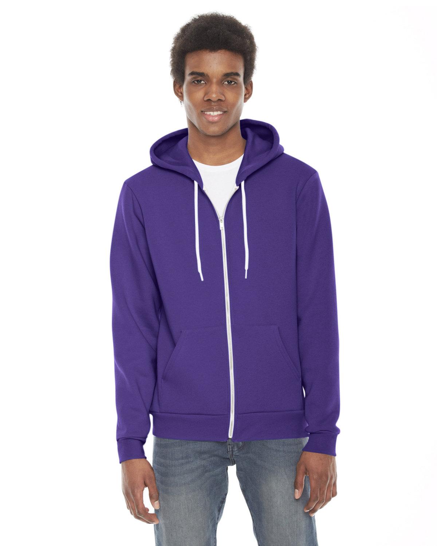 American Apparel Unisex Flex Fleece USA Made Zip Hoodie PURPLE