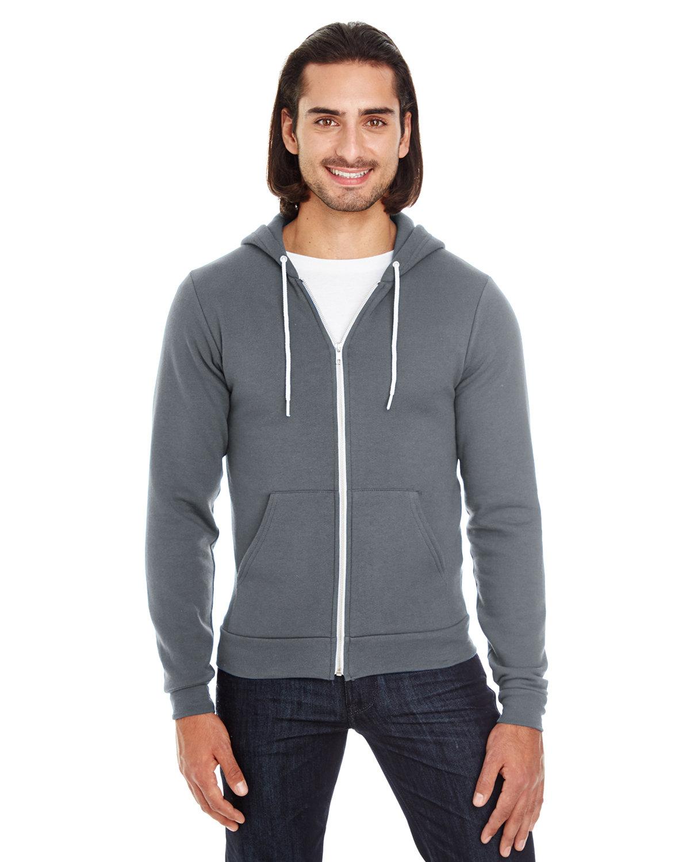 American Apparel Unisex Flex Fleece USA Made Zip Hoodie ASPHALT