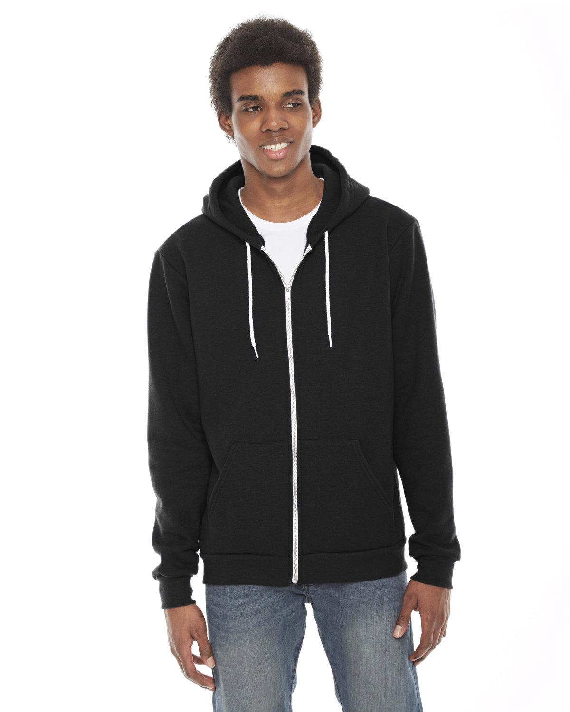 American Apparel Unisex Flex Fleece USA Made Zip Hoodie BLACK