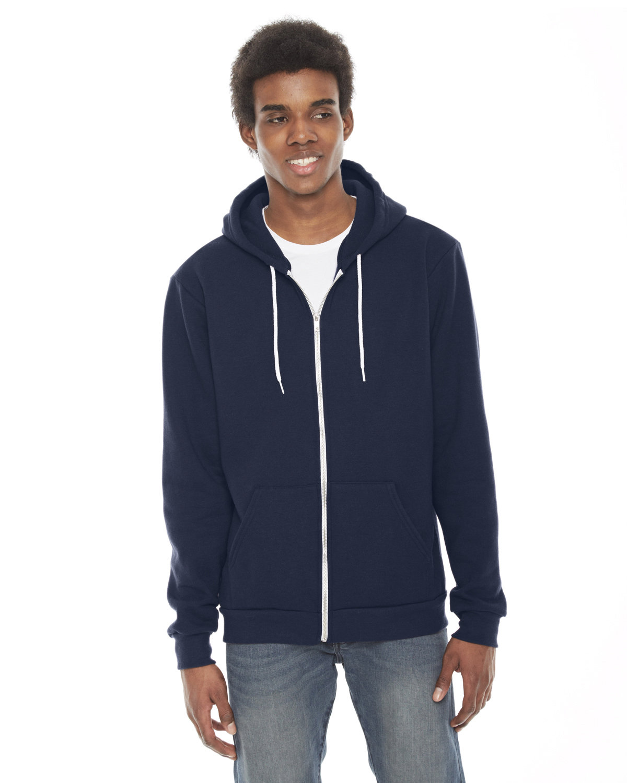 American Apparel Unisex Flex Fleece USA Made Zip Hoodie NAVY