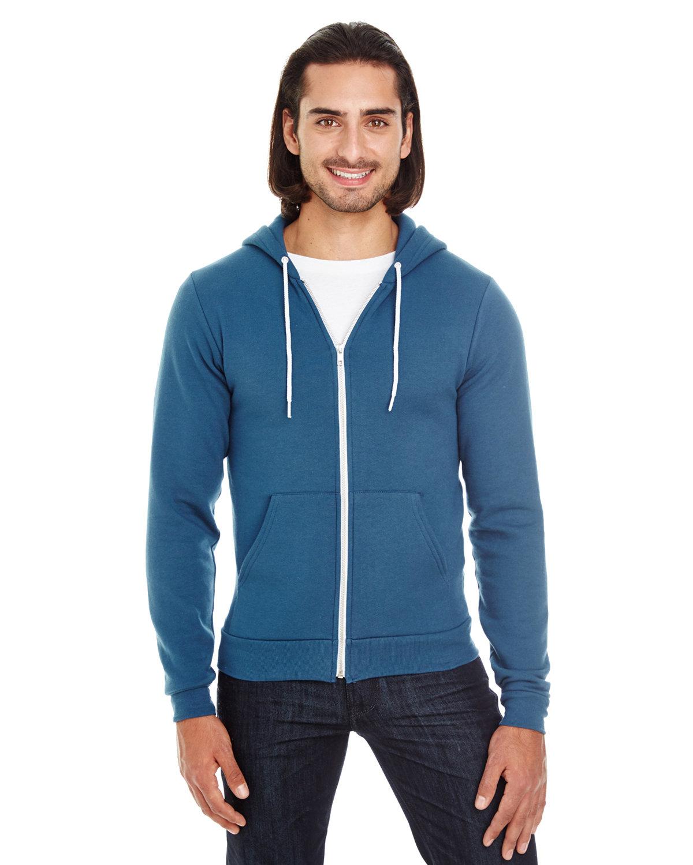 American Apparel Unisex Flex Fleece USA Made Zip Hoodie SEA BLUE