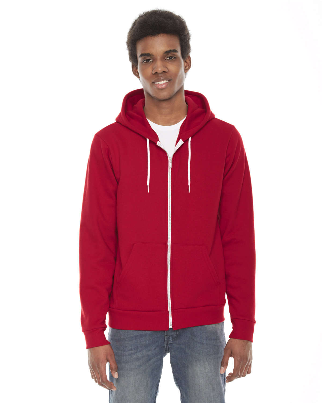 American Apparel Unisex Flex Fleece Zip Hoodie RED