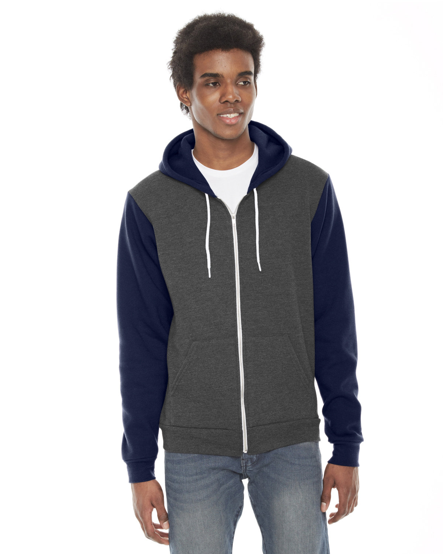 American Apparel Unisex Flex Fleece Zip Hoodie DK HTH GRY/ NAVY