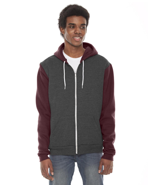 American Apparel Unisex Flex Fleece Zip Hoodie DK HTH GRY/ TRFF