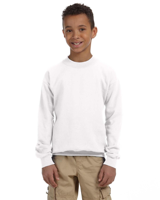 Gildan Youth Heavy Blend™ 50/50 Fleece Crew WHITE