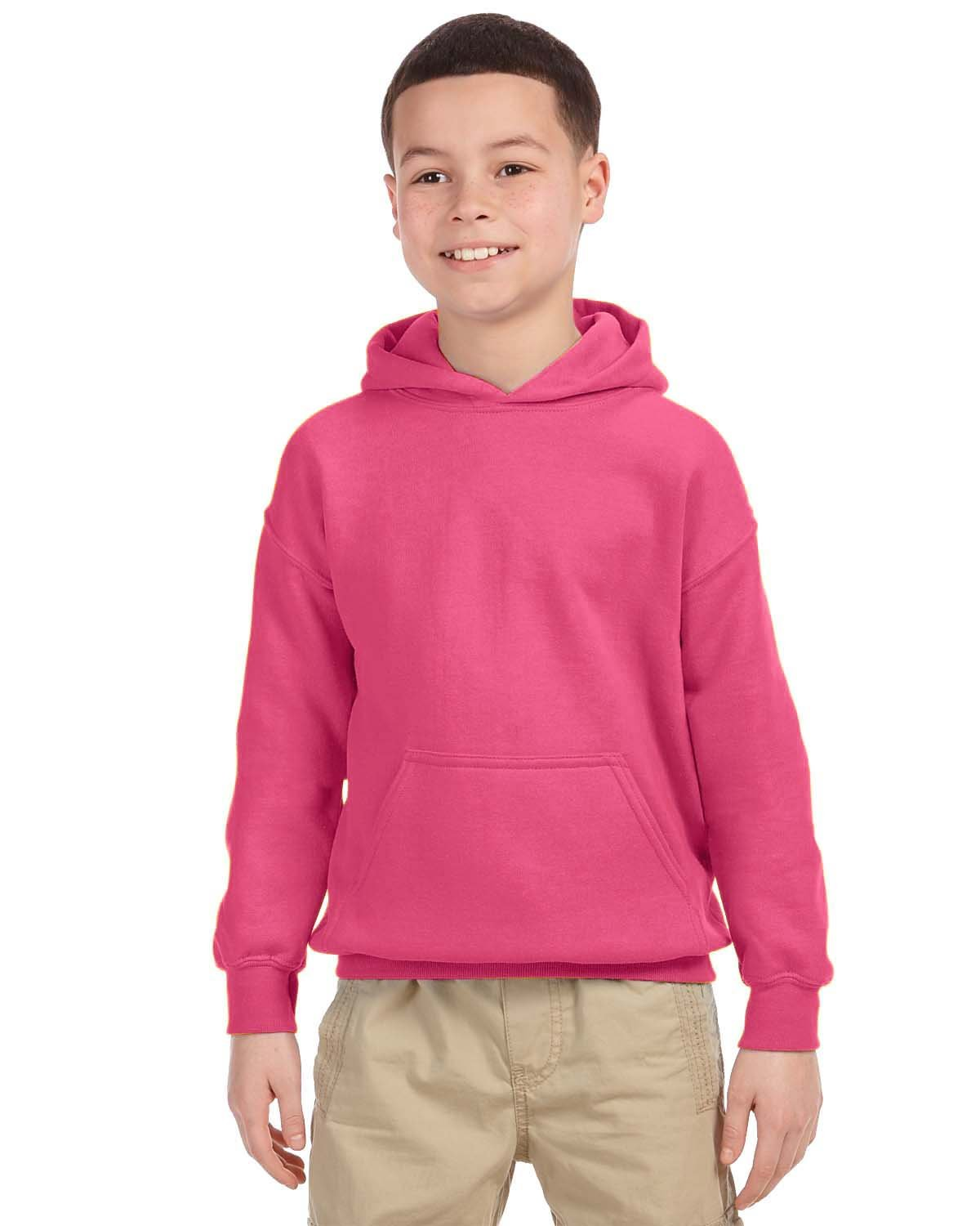 Gildan Youth Heavy Blend™ 50/50 Hooded Sweatshirt SAFETY PINK
