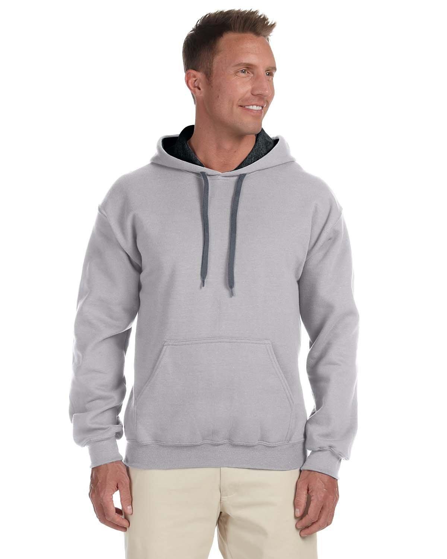 Gildan Adult Heavy Blend™ 50/50 Contrast Hooded Sweatshirt SPORT GREY/ BLK