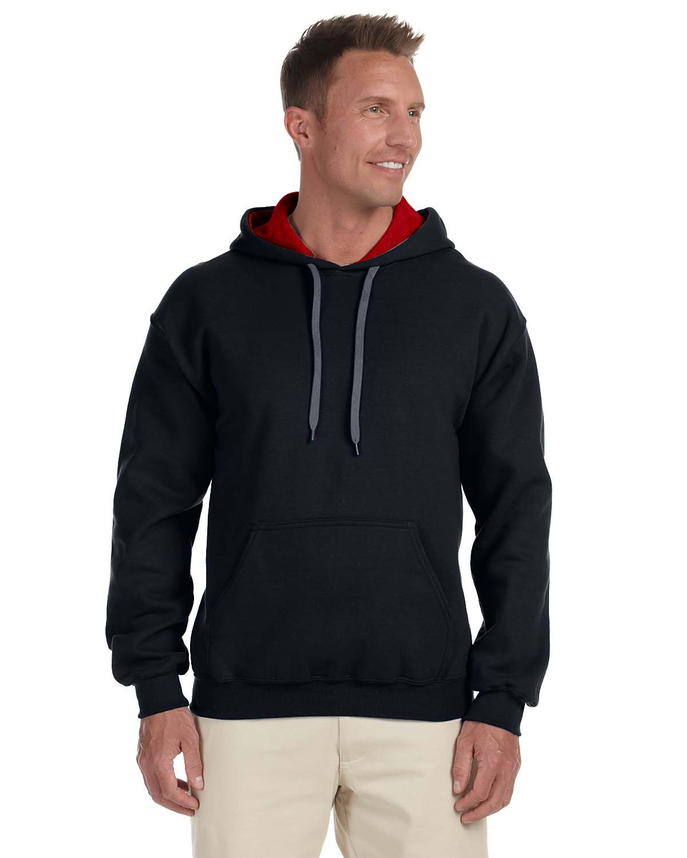 Gildan Adult Heavy Blend™ 50/50 Contrast Hooded Sweatshirt BLACK/ RED