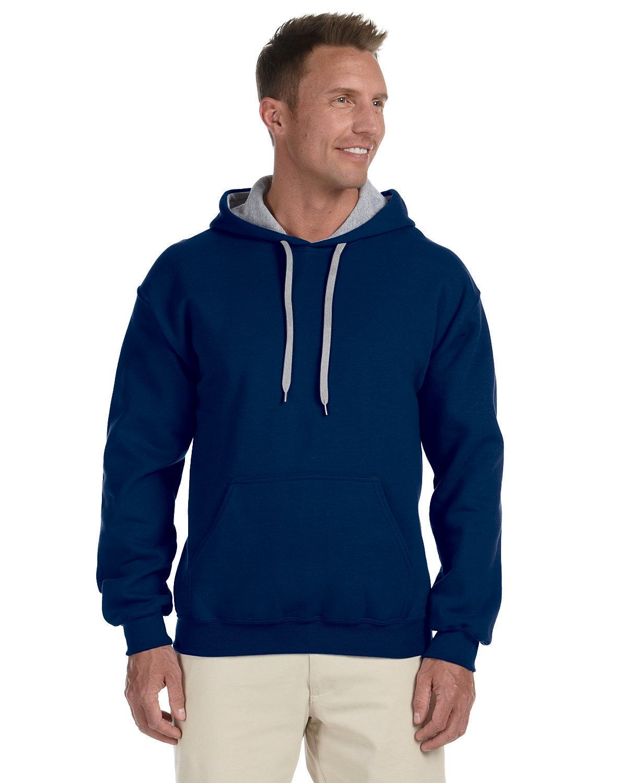 Gildan Adult Heavy Blend™ 50/50 Contrast Hooded Sweatshirt NAVY/ SPORT GREY